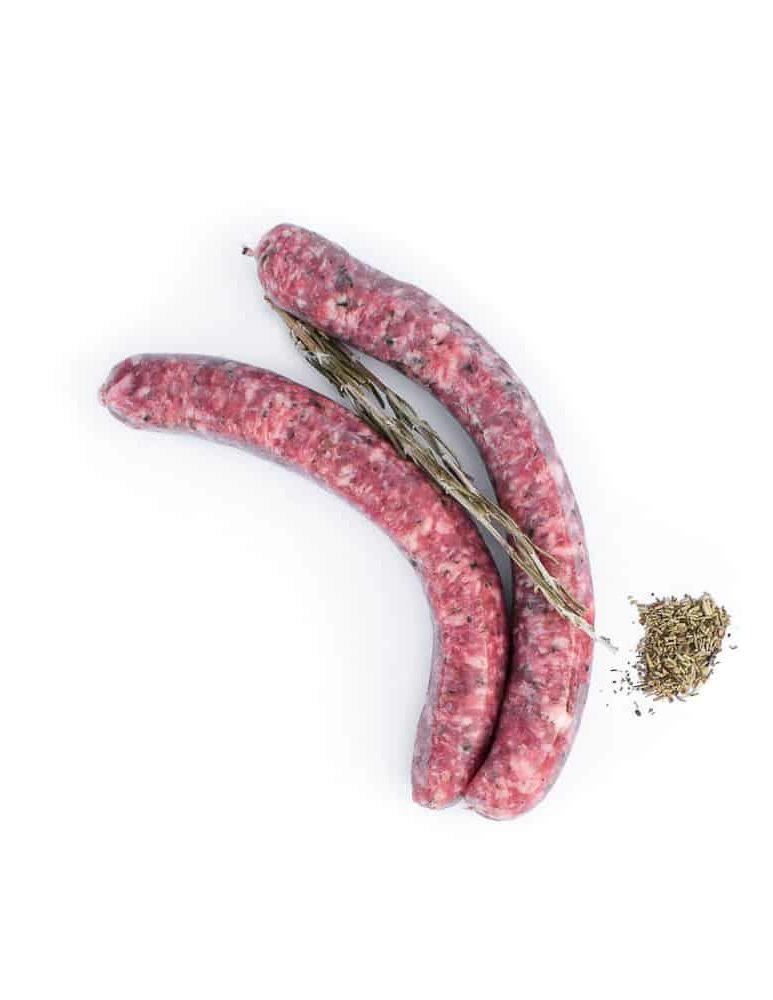Saucisse aux herbes. Maison Alpin. Vente en direct de la salaison familiale. Charcuterie artisanale, saucisson, saucisse, diot, jambon, de Haute-Savoie & viande de qualité supérieure en ligne.