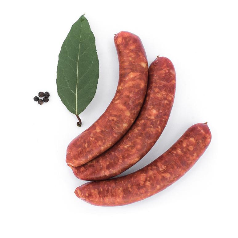 L'espagnole, saucisse au chorizo. Maison Alpin. Vente en direct de la salaison familiale. Charcuterie artisanale, saucisson, saucisse, diot, jambon, de Haute-Savoie & viande de qualité supérieure en ligne.