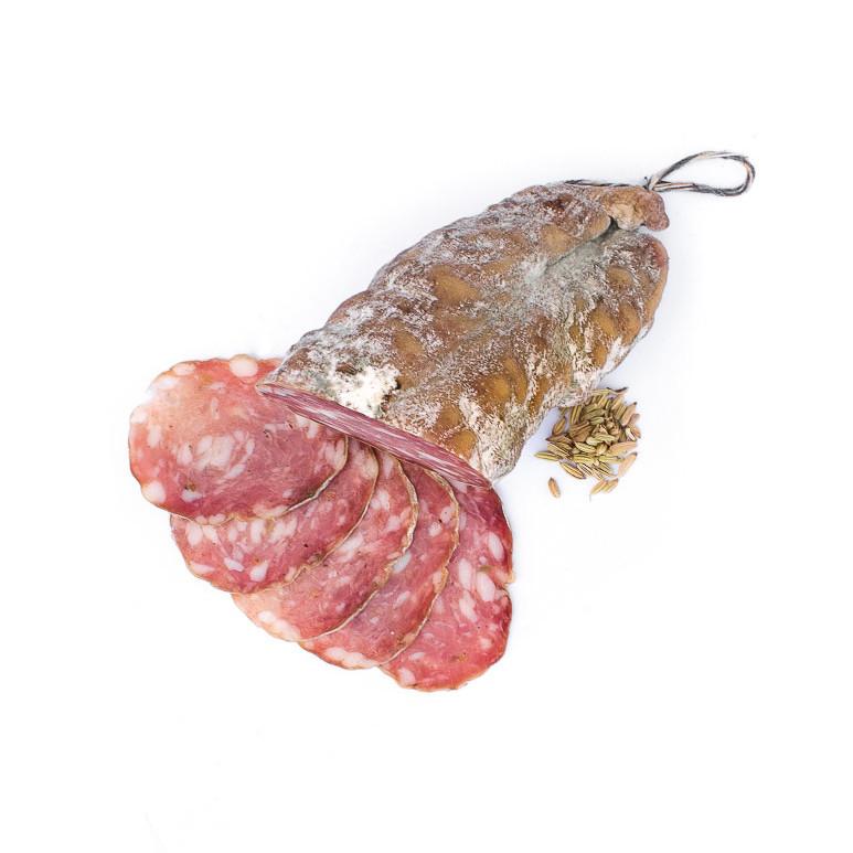 Saucisson sec au fenouil. Vente en direct de la salaison familiale. Charcuterie artisanale, saucisson, saucisse, diot, jambon, de Haute-Savoie & viande de qualité supérieure en ligne.
